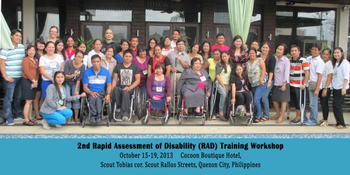 Participants at the 2nd Rapid Assessment of Disability Training Workshop, October 2013