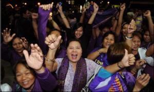 Supporters of the RH Bill celebrate in Quezon City after congress passed the RH Bill (8).