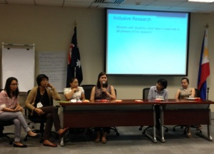 W-DARE team members Rowena Riviera, Rack Corpuz, Carmind Licerio, Krissy Bisda, Aya Tiongco-Sunit and Janine Cruzet facilitating a session during the DFAT workshop, July 2015, Manila.